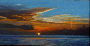 """Sundown Over Water, series""; oil on oak panel"
